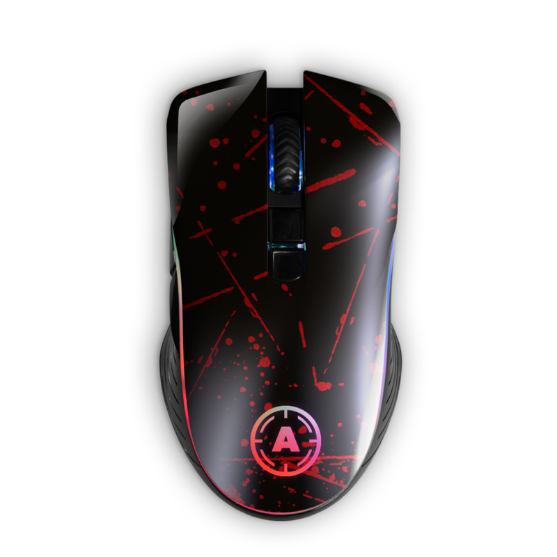 Aim Red Splatter RGB Mouse